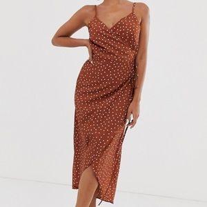 ASOS Polka Dot wrap midi dress burnt orange sz 4